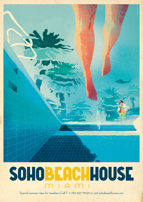 Soho beach house miami by jonas bergstrand vectorvault for Beach house prints
