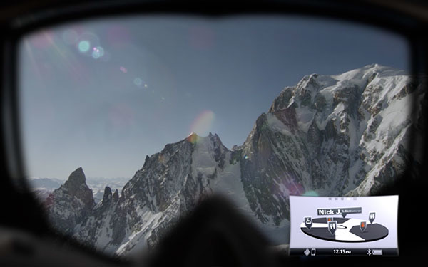 View out of Oakley Airwave ski goggles.
