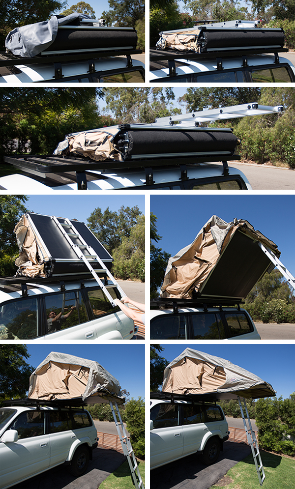 ... set up c& - simply whip off the cover extend the ladder and pull to open up the tent. When you have the ladder to the ground extend and secure the ... & NOTFZJ80: ARB Simpson III Roof Top Tent (NOTCOT)