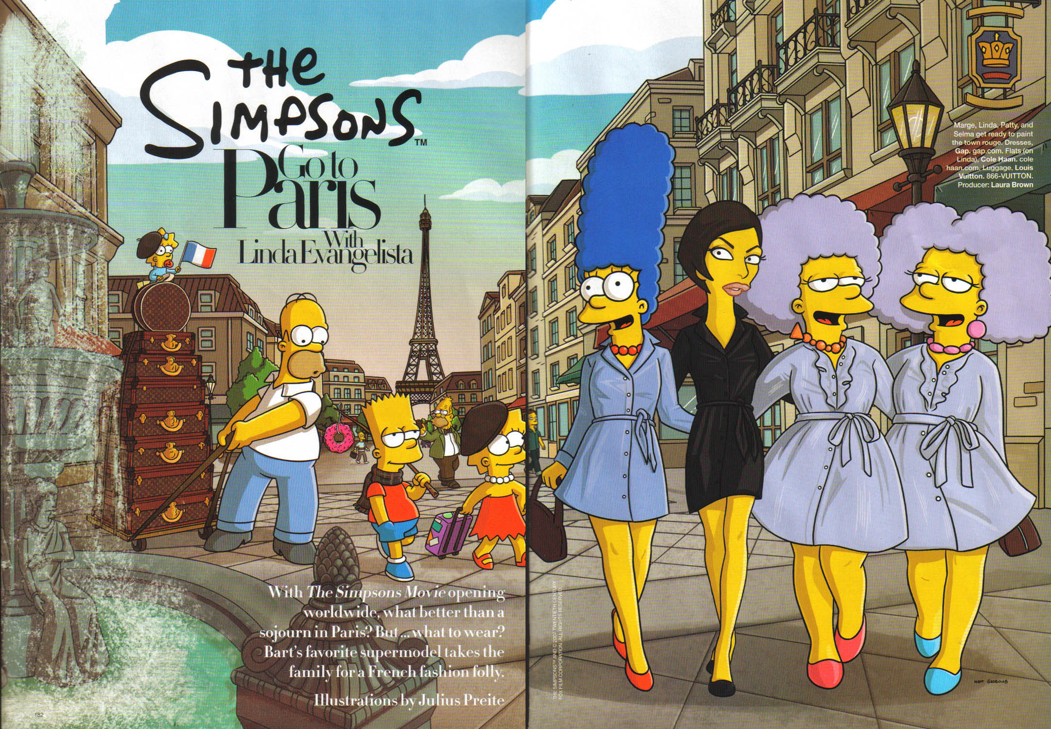 "Harper's Bazaar August 007 ~ ""The Simpsons go to Paris with Linda ..."