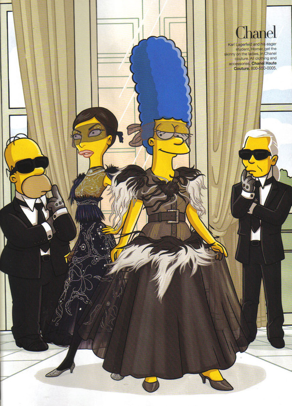 Marge, Homer and Karl Lagerfeld